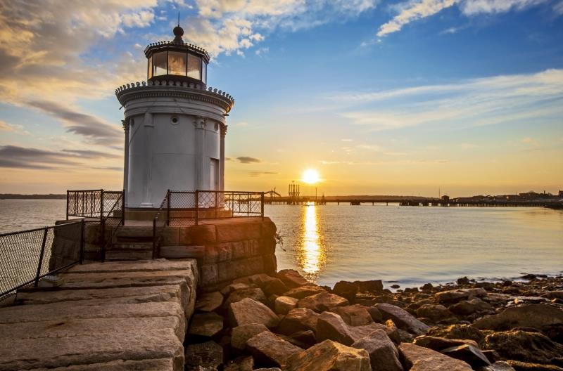 USA_Maine_New_England_Bug_Light_Lighthouse_zonsondergang